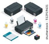 isometric realistic printer....   Shutterstock .eps vector #512919631