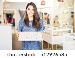pretty young brunette working... | Shutterstock . vector #512926585