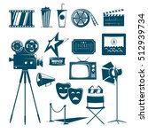 collection of cinema icons in... | Shutterstock .eps vector #512939734
