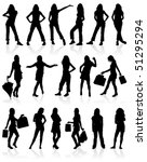 set vector silhouettes girls... | Shutterstock .eps vector #51295294
