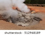 Small photo of Red Spouter Paint Pot/ Red Spouter Yellowstone/ Red Spouter bubbles red and grey. It is a hot spring, mudpot and fumarole in the Lower Geyser Basin in Yellowstone National Park, Wyoming, USA.