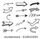 Set of arrow doodle on white background | Shutterstock vector #513015355