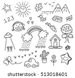 children's drawing on white... | Shutterstock .eps vector #513018601