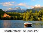 Mountain lake Strbske pleso in National Park High Tatras at sunset, Slovakia, Europe