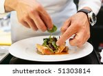chef is decorating delicious... | Shutterstock . vector #51303814