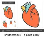 human heart vector line icon... | Shutterstock .eps vector #513051589