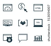 set of seo icons on digital... | Shutterstock .eps vector #513054007