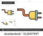 power cord vector line icon... | Shutterstock .eps vector #513057997