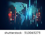 futuristic earth map technology ... | Shutterstock . vector #513065275