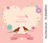 vintage heart frame decoration... | Shutterstock .eps vector #513068041