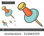 pushpin vector line icon... | Shutterstock .eps vector #513069259
