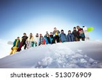 group of friends skiers and... | Shutterstock . vector #513076909