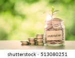 plant growing  in coins glass...   Shutterstock . vector #513080251