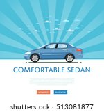 city car isolated on rays... | Shutterstock .eps vector #513081877