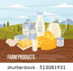 farm products banner with dairy ... | Shutterstock .eps vector #513081931