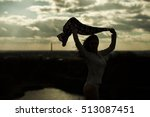silhouette of young woman... | Shutterstock . vector #513087451