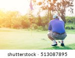 golf player crouching and study ... | Shutterstock . vector #513087895