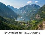 beautiful view to geiranger... | Shutterstock . vector #513090841