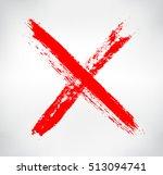 grunge x mark.hand drawn letter ... | Shutterstock .eps vector #513094741