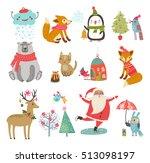 vector set of cute characters.... | Shutterstock .eps vector #513098197