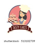 cute girl or young woman baker... | Shutterstock .eps vector #513102739
