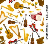 musical instruments seamless... | Shutterstock .eps vector #513105085