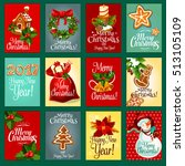 christmas and new year greeting ... | Shutterstock .eps vector #513105109