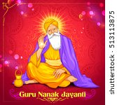 illustration of happy guru... | Shutterstock .eps vector #513113875