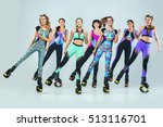 the group of girls  jumping on... | Shutterstock . vector #513116701