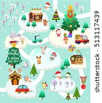 christmas city with santa claus ... | Shutterstock .eps vector #513117439