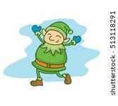 Happy Green Elf Cartoon...