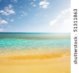 blue sea yellow sand and blue... | Shutterstock . vector #51311863