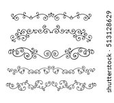 set of hand drawn text dividers ... | Shutterstock .eps vector #513128629