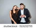 happy man and playful woman in... | Shutterstock . vector #513152755