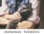 woman with blue russian cat....   Shutterstock . vector #513163111
