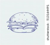 burger. hand drawn sketch. blue ... | Shutterstock .eps vector #513164491