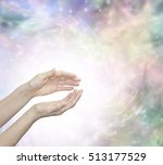 Small photo of Faith Healing with Blissful Energy - Outstretched female healing hands surrounded by a large radiating circle of white light and a subtle pastel colored ethereal energy field in background