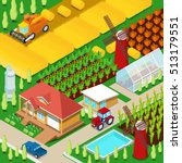 isometric rural farm... | Shutterstock .eps vector #513179551