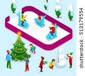 isometric ice rink with people... | Shutterstock .eps vector #513179554