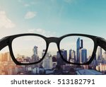 eye glasses looking to city... | Shutterstock . vector #513182791