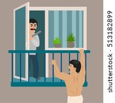 lover man escapes from an angry ... | Shutterstock .eps vector #513182899