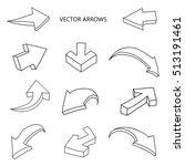 hand drawn arrows.set of... | Shutterstock .eps vector #513191461