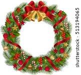 christmas wreath with fir... | Shutterstock .eps vector #513194065