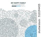 family doodle website template... | Shutterstock .eps vector #513194455