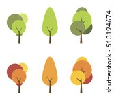 set of green and yellow trees | Shutterstock .eps vector #513194674