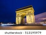 arc de triomph in paris at night | Shutterstock . vector #513195979