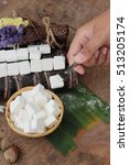 white sugar cubes is organic... | Shutterstock . vector #513205174