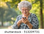 Cheerful Old Woman Excited On...