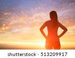 Silhouette Of Sport Woman Look...