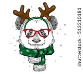 funny panda wearing glasses and ... | Shutterstock .eps vector #513210181